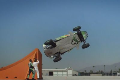 Real Life Hotwheels Car Does A World Record Corkscrew Jump.