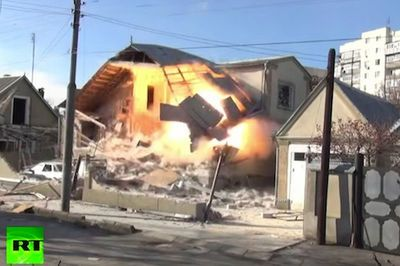 Video: How Russians Deal With Terrorists! Police Shoot The House Up, Then Demolished It With Explosives.