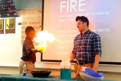 Video: A Brave Science Teacher Just Lit His Student On Fire!