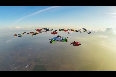 Video: 61 Gravity-fighting Wingsuiters Jumped From 4 Different Planes To Fly In Formation And Set A New World Record!