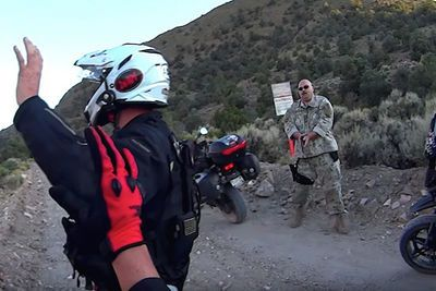 Video: Two Motorbike Riding Civilians Held At Gunpoint By Camouflage Dudes After Stumbling Upon Secret 'area 51' Entrance, Watch It Before The Government Takes It Down!