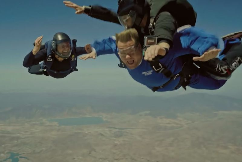 Video: Tom Cruise Pushed James Corden Out A Plane During A Sky Diving Mission! 1