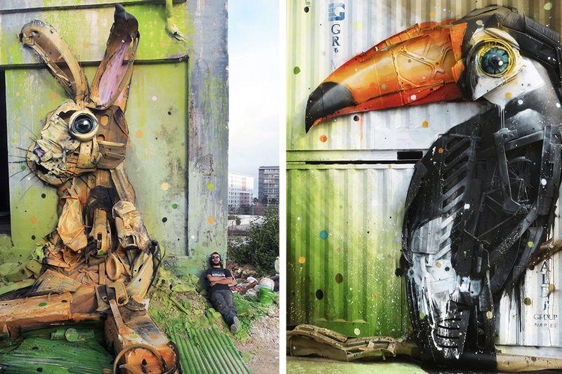Street Artist Turns Rubbish into Street Art – Meet Bordalo II 1