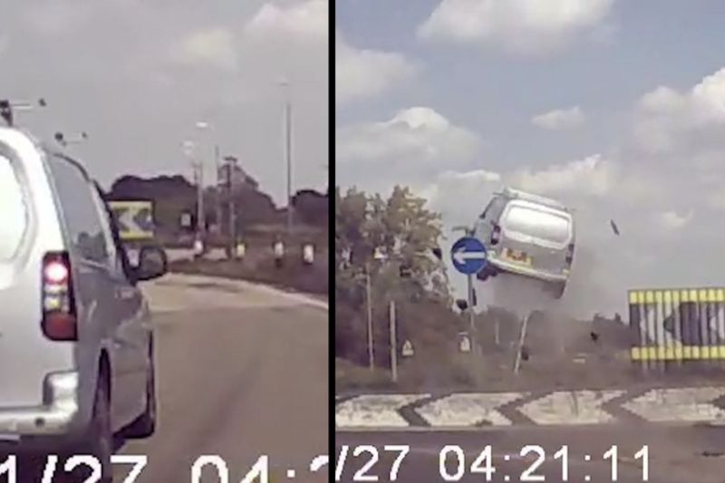 Dashcam Footage – Van Gets Air Over a Traffic Circle 1