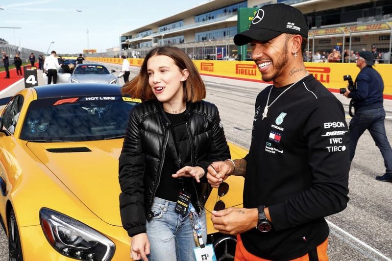 Millie Bobby Brown Hits the Track with Lewis Hamilton 1