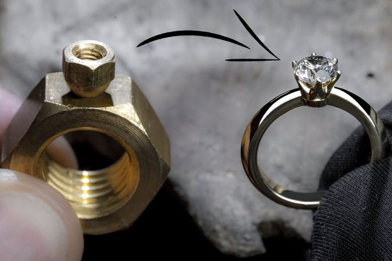 Turning 2 Hex Nuts into a 1Ct Diamond Ring 1